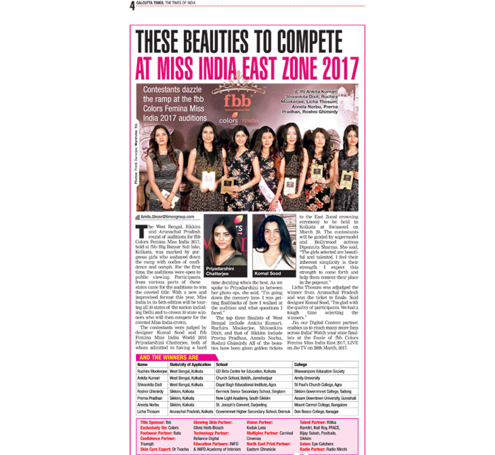 Miss India East Zone 2017 - Beauty & make up Partner TOI, Credit Mention
