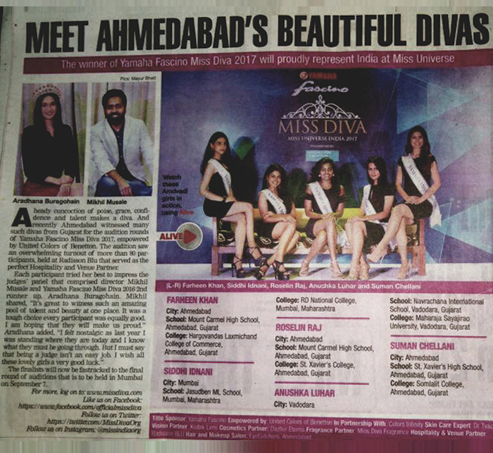 Miss North East Diva '17 Ahmedabad Auditions coverage of EyeCatchers as beauty & make up partner in TOI